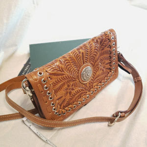 American West Embossed Leather Wallet Crossbody